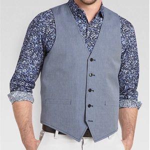 Egara Navy and White linen blend vest slim fit